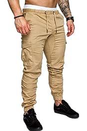 SHOWNO Mens Running Trainning Multi Zipper Sport Casual Jogger Pants Sweatpants Trousers