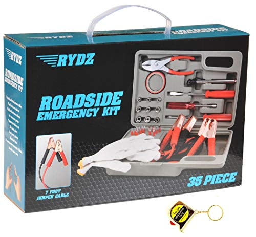 RYDZ Best Top Selling Auto Car Roadside Emergency Kit Set Last Minute Graduation Gift Idea for New Driver Him Dad Guy Father Day in Law Teen College Adult with Tape Measure Key Chain