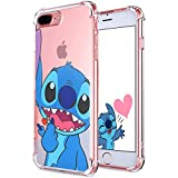 """Logee Sweet Stitch TPU Cute Cartoon Clear Case for iPhone 8 Plus/7 Plus 5.5"""",Fun Kawaii Animal Soft Protective Cover,Ultra-Thin Shockproof Funny Character Cases for Kids Teens Girls Boys (8Plus)"""
