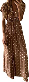 Drindf Womens Top Women's Casual Long Maxi Classic Dot Print V Neck High Waist Wrap Dress Party Beach