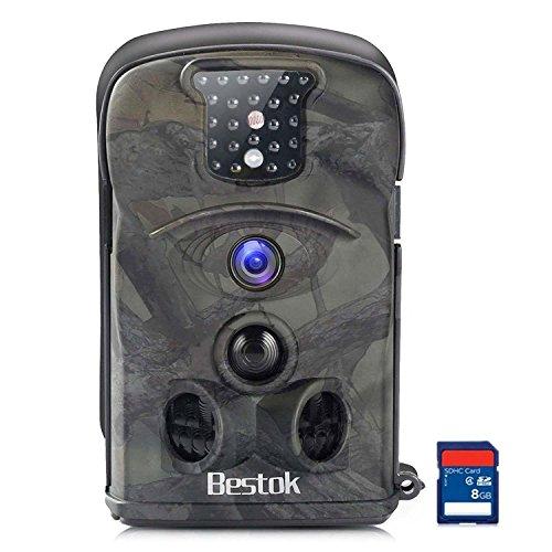 Bestok Cámara de Caza 12MP HD Cámara de Vigilancia Ángulo Ancho de 120 ° Impermeable Invisible Visión Nocturna Hasta 20M IR LEDs Trail Cámara (8210A-8GB)