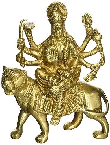 Indian Accent Estatua de metal de latón de la diosa hindú Durga