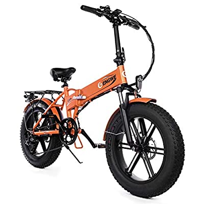 "ENGWE Electric Mountain Bicycle 500W 20"" Fat Tire Electric Folding Beach Snow Bike for Adults, Aluminum Electric Scooter 7 Speed Gear E-Bike with Removable 48V12.5A Lithium Battery (Black)"