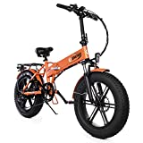 ENGWE Electric Mountain Bicycle 500W 20' Fat Tire Electric Folding Beach Snow Bike for Adults, Aluminum Electric Scooter 7 Speed Gear E-Bike with Removable 48V12.5A Lithium Battery (Orange)