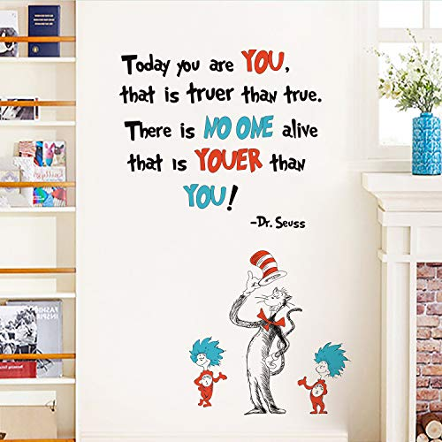 Runtoo Dr Seuss Wall Decals Inspirational Quotes Today You are You Kids Wall Stickers Baby Nursery Bedroom Classroom Wall D