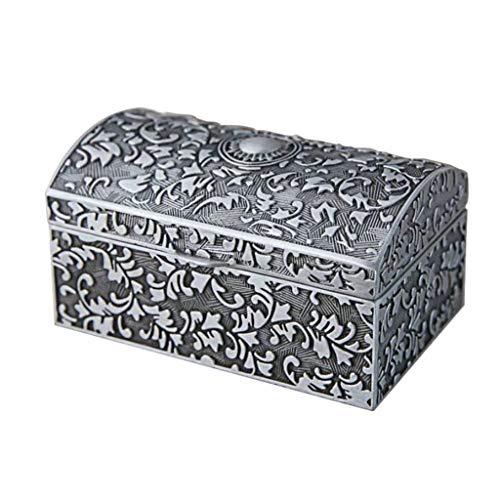 Joyero de metal vintage, pequeño anillo para baúl de almacenamiento de joyas,...