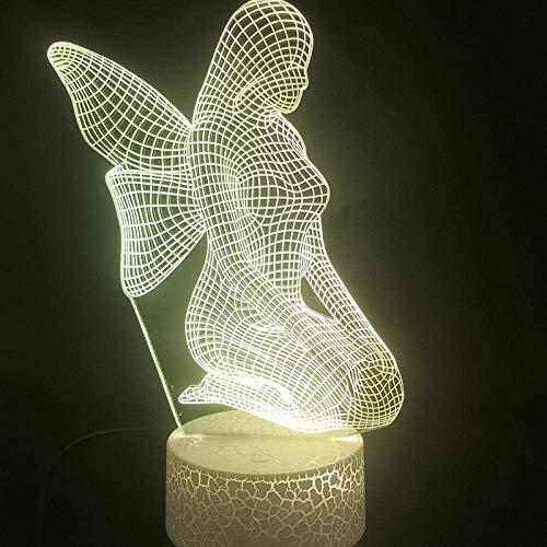 Lámpara 3D ilusión LED Luz de Noche Angel butterfly fairy pretty Ilusión Lámpara de mesa Luces con para la decoración del partido Presentes de cumpleaños Con interfaz USB, cambio de color colorido