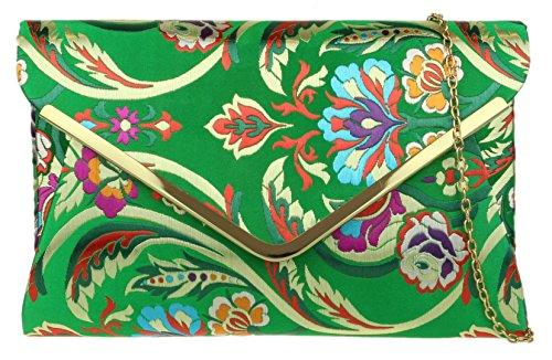Girly Handbags Barock Blumen-Clutch-BagGrün