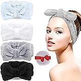 [4er Pack] Spa Stirnband Bowknot Haarbänder, LauCentral Coral Makeup Stirnband Elastic Head Wrap zum Waschen von Gesicht, Spa, Beauty(Schwarz, Weiß, Grau, Babyblau)