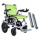 ASDFGHJKL Plegable sillas de Ruedas,Silla de Ruedas eléctrica, 17 Pulgadas de Ancho de Banda del Asiento Silla de Ruedas para discapacitados en Silla de Ruedas Rampa - Verde