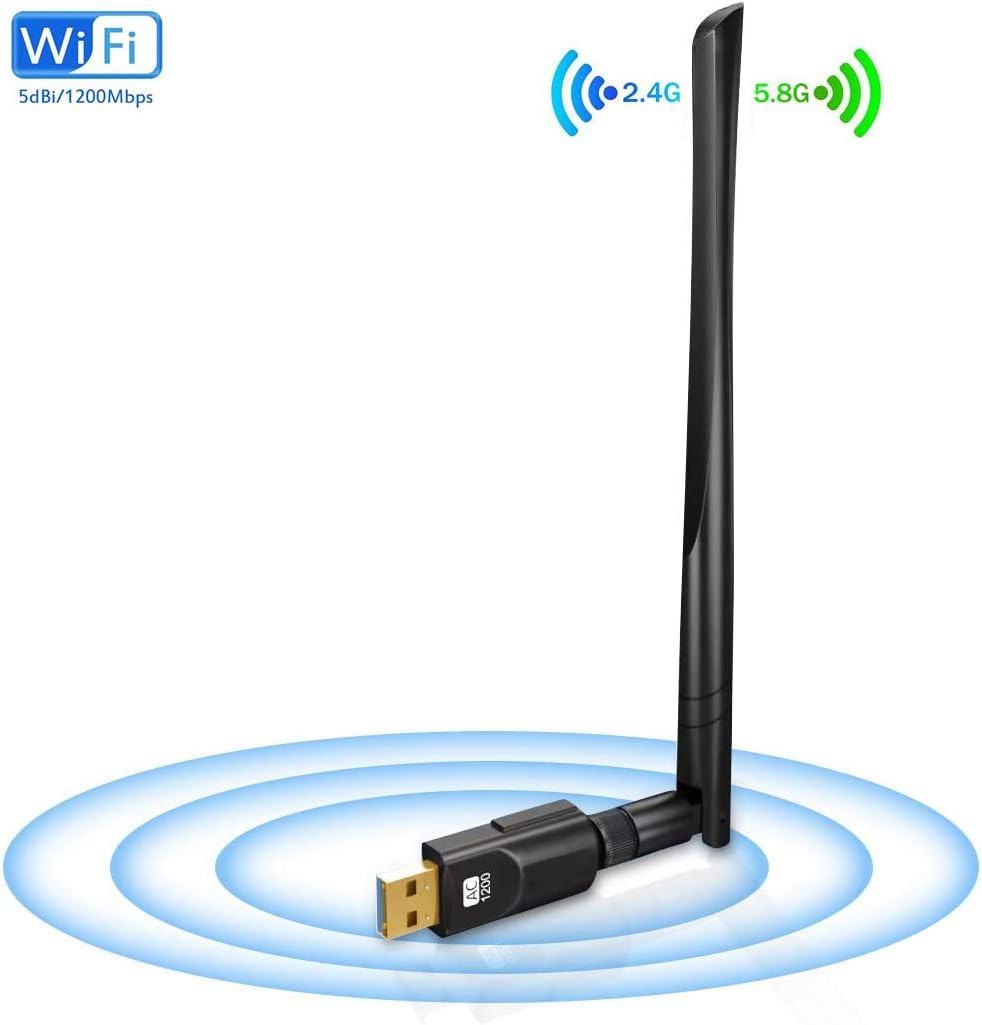 VRK WiFi Dongle 1200 Mbps,Adaptador WiFi Doble Banda 5GHz/2.4GHz USB 3.0 Adaptador Inalámbrico para PC Escritorio Portátil Compatible Windows Mac y ...