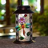 RUILAIYA BOAER Garden Solar Lantern Lights Outdoor Hanging Dragonfly Retro Metal LED for Outdoor Table Patio