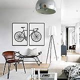 Carteles de Lienzo de Pintura de Bicicleta de Moda en Blanco y Negro Arte de Pared escandinavo Cuadro de Bicicleta Modular Sala de Estar Decoración para el hogar-50x70cm 2 Piezas Sin Marco