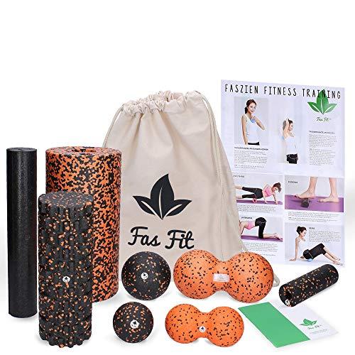 Fas Fit Faszienrolle - Foam Roller Set 8teilig - Massagerollen & Faszienbälle - Faszien Rolle für ein effektives Faszientraining – inkl. Poster, Übungsheft, E-Book und Turnbeutel (Orange - 8 in 1 Set)