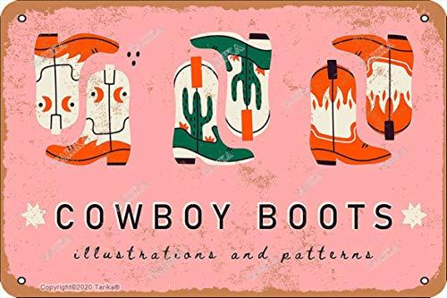 Letrero de decoración de estilo retro con diseño de botas de vaquero de 20 x 30 cm, para decoración de hogar, cocina, baño, granja, jardín, garaje, citas inspiradoras