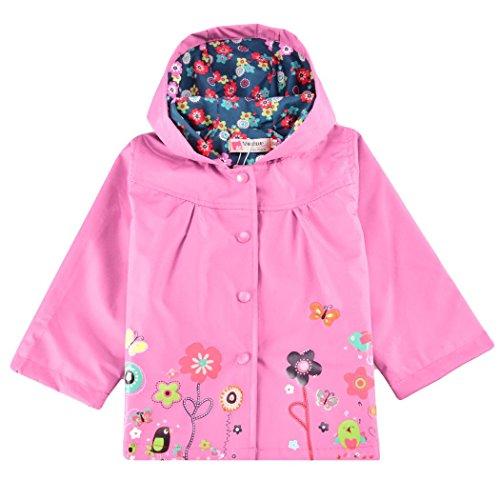 Swiftt Impermeabile per Bambini, Cappotto per Bambini in Plastica Bambini Svegli Ragazzi e Ragazze 2-10 Anni Fiore Manica Lunga con Cappuccio Impermeabile Stampato Giacca