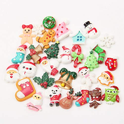 Desconocido Super1798-30 Piezas de Resina de árbol de Papá Noel y muñeco de Nieve para Manualidades