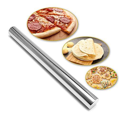 Rodillo de cocina para amasar estilo francés de acero inoxidable antiadherente, repostería, pizza, galletas, bolillo para tortillas, tamaño grande 40 cm, rolling pin