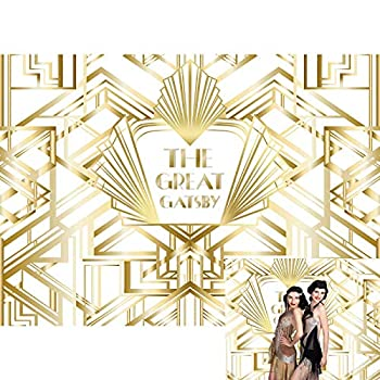 Allenjoy The Great Gatsby 1920s Retro Roaring Backdrop Golden 20 s 20s White Gold Art Happy 1st Birthday Wedding Party Decor Banner Baby Shower Newborn Photography Background 7x5ft Photo Booth Props