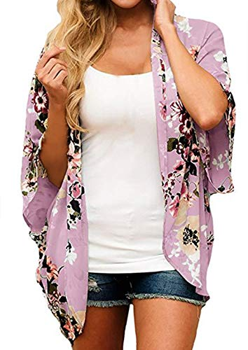 Finoceans Womens Floral Print Kimono Cardigans Loose Beach Cover Up Purple XX-Large