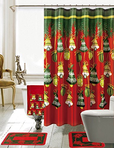 Christmas Jingle Bells 18 Piece Rugs, Shower Curtain, Roller Hook and Towel