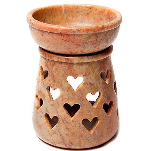 Find Something Different Etwas Finden Verschiedene Aromalampe Herz Braun Speckstein Tee Kerzenhalter, Mehrfarbig