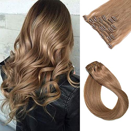 Clip in Human Hair Extensions 7A Grade 70 Gram 7 Pieces Silky Straight Weft Golden Brown Remy Hair Extensions Clip in Real Hair Seamless Clip on Extensions for Women 15 Inch