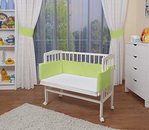 WALDIN Baby Beistellbett mit Matratze, höhen-verstellbar, Holz weiß lackiert,Große Liegefläche 90x55cm/grün