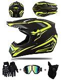LZSH Casco professionale da motocross, Casco integrale da motocross per adulti e bambini, con occhialini, guanti, maschera (D,M: 57-58 cm)