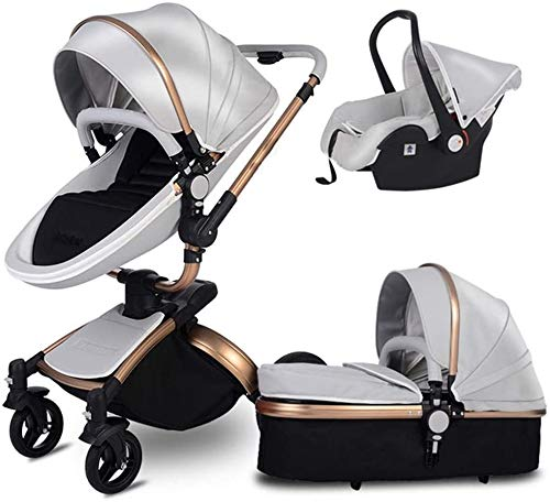 YZPDD 3-1 Travel System Pushchair, 360 Rotation Function Pram,Pu Leather Folding Portable Baby Carriage from Birth, Large Shopping Basket (Color : Black) (Color : D)