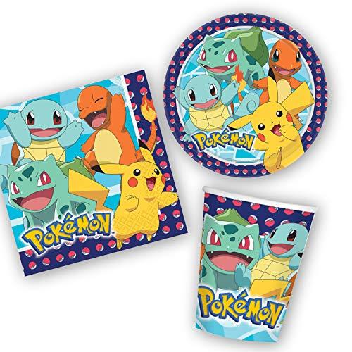 Unbekannt Pokémon Party Dekoration Set - Teller, Becher, Servietten für 8 Personen