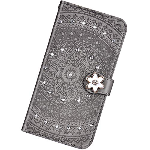 Funda Compatible con Xiaomi Redmi Note 6 Pro,Cuero Bling Diamante Flor Mandala Carcasa Case Estampado PU Flip Billetera Ranura para Tarjeta Cierre Magnético Protectora Función de Soporte Bumper,Gris