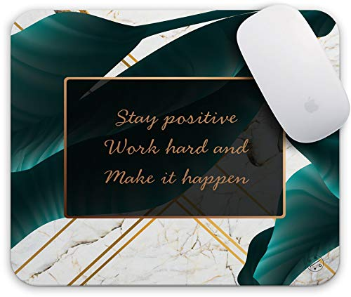 Oriday Gaming Mouse Pad Custom, Stay Positive Work Hard and Make It Happen Motivational Sign Inspirational Quote Mouse Pad Quotes for Work (Golden Tropical)