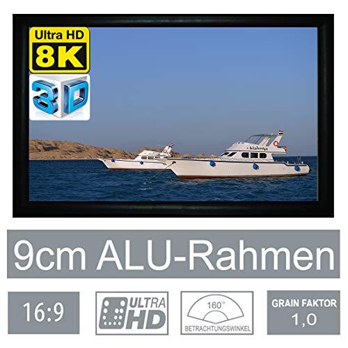 "HiViLux Rahmen Leinwand Gain 1,0 Weiss Tuch aus Referenz Kinofolie/3D/4K/UHD/ALU Rahmen/Kein Glitzereffekt o.Hotspot (16:9 Bild:365x205cm 165\"" Rahmenstärke 9cm)"