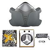 AJL Gris eléctrica Inteligente respirador purificador de Aire Reutilizable del Protector de Cara Filtro de carbón Activado anticontaminación de la respiración a Prueba de Polvo Lavable Escudo Facial