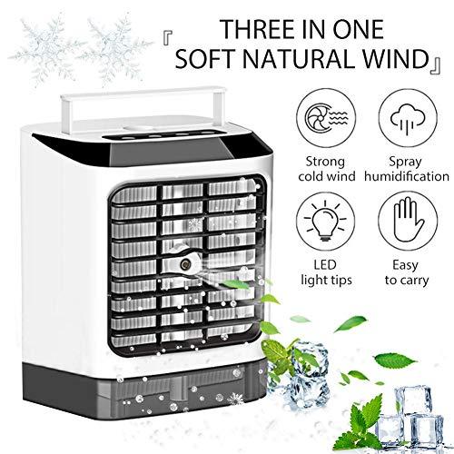 Verloco Mini-koelbox, draagbaar, elektrische ventilator, oplaadbaar via USB, stille luchtbevochtiger, voor kantoor, woonkamer, slaapkamer, school