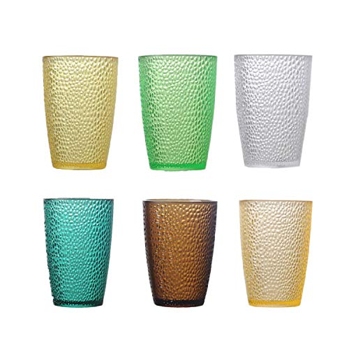 Tebery 6 Pack Drinking Glasses Set 12oz Colored Plastic Tumblers Cups Glassware Unbreakable Water Cups Juice Tumblers