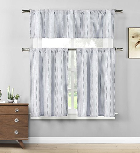 Home Maison - Kylie Medallion Striped Kitchen Tier & Valance Set | Small Window Curtain for Cafe, Bath, Laundry, Bedroom - (Jeans Blue & White)