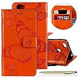 Herbests Kompatibel mit Leder Handy Schutzhülle Xiaomi Redmi Note 5A Lederhülle Schmetterling Muster Leder Handyhülle Handytasche Brieftasche Ledertasche Bookstyle Flip Hülle Cover Klapphülle,Orange