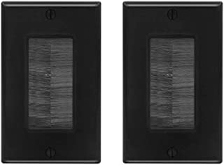 VCE 2-Pack Single Brush Wall Plate Cable Pass Through Insert for Wires, Single Gang Cable Access Strap, Wall Socket for HDTV, Home Theater Systems - Black UL Listed