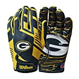 Wilson NFL Stretch Fit Football Gloves - Green Bay-Youth
