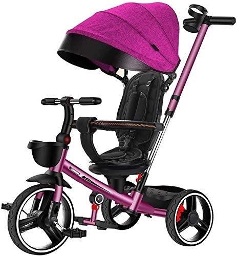 Review JINHH 4 in 1 Kids Bicycle, Tricycle Light Kid Stroller Folding Kids Car Seat Swivel Safety Fe...