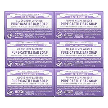 Dr Bronner's - Pure-Castile Bar Soap  Lavender 5 ounce 6-Pack  - Made with Organic Oils For Face Body and Hair Gentle and Moisturizing Biodegradable Vegan Cruelty-free Non-GMO