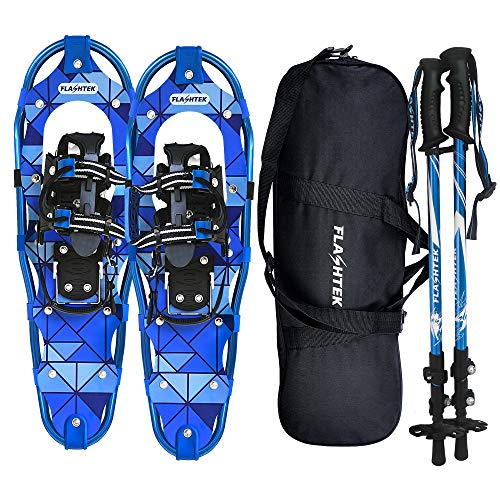FLASHTEK 30 Inches Snowshoes for Men and Women Lightweight Snowshoes with Poles for Hiking Heel Lift Riser for Mountaineering + Free Carrying Bag (Blue)