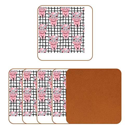 Praktische Tassenmatte Isolationspads sind verbrühungshemmend und hitzebeständig, rosa Schweinchen mit Brille, Haushalt, wasserdicht, Aschenbecher und Tischsets, Topfmatten und Schüsselmatten.