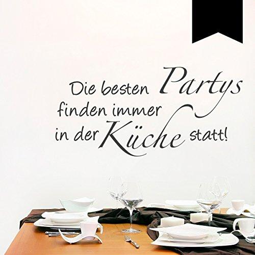 WANDKINGS Wandtattoo - Die besten Partys finden immer in der Küche statt! - 50 x 24 cm - Schwarz - Wähle aus 5 Größen & 35 Farben