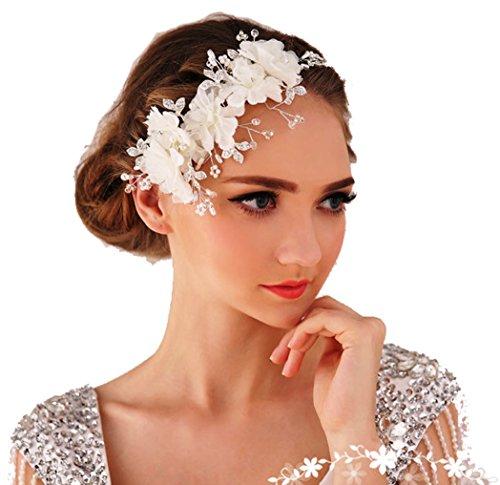 Miya, cerchietto glamour con delicati fiori in tulle, pizzo, cristalli trasparenti e perline, ideale per le spose e come gioiello da matrimonio cc12 Taglia unica