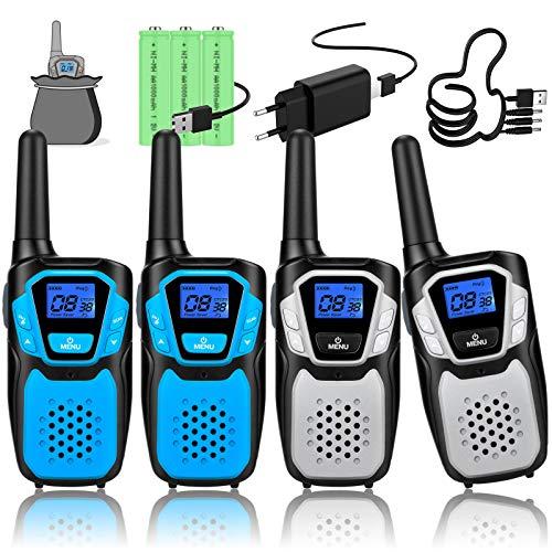 Topsung walkie Talkie 4er Set, walki talki aufladbar, woki toki hohe reichweite mit Batterie für Skifahren Camping Wandern (2Blau & 2Silber)