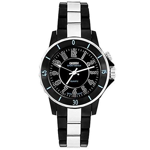 Taffstyle Damen Herren Sportuhr Armbanduhr Metall mit Led Licht Sport Watch Analog Quarz Uhr Schwarz