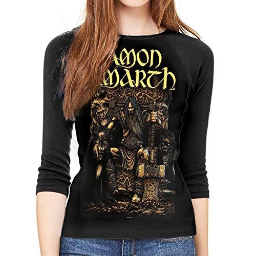 3/4 Ärmel lässig Rundhalsausschnitt Tops Tee Amon Amarth Women's Slim-Fit 3/4 Sleeve T-Shirt Graphic Baseball Shirt